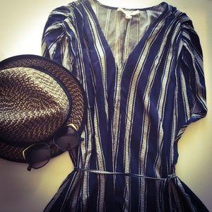 Anthropologie Navy & White Pin Stripe Dress